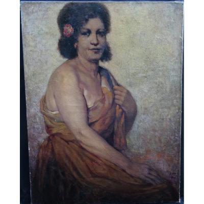 Ernest Faut Portrait De Femme Hst Du XXème Siècle 1957 Tahiti