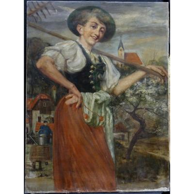 Portrait De Femme Alsace Ecole Française De La Fin XIXème Siècle Hst