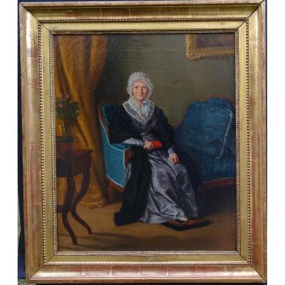 Portrait De Femme d'Epoque Charles X Ecole Française Du Début Du XIXème Hst