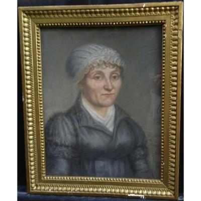 Portrait Of Woman Of Directoire Period French School Of The Eighteenth Century Pastel
