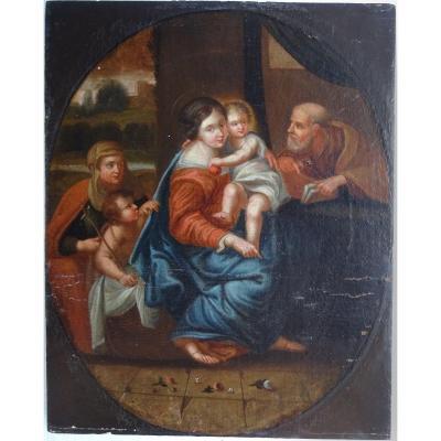 Portrait Religieux De La Sainte Famille Ecole Française Du XVIIIème Siècle Hst