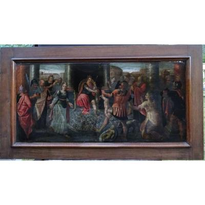 Large Religious Painting The Judgment Of King Solomon From The XVIIth Century H / P