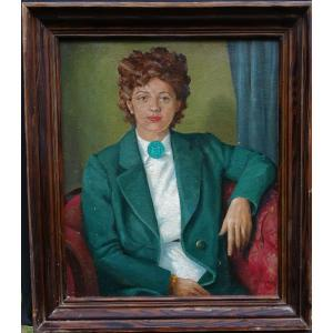 W Ganning Portrait Of Woman French School From The Middle Of The Twentieth Century H / P