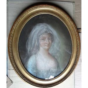 Portrait De Femme Au Voile Ecole Française Du XVIIIème Siècle Pastel