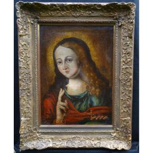 Portrait Of The Child Crhist In Salvator Mundi Oil On Canvas From The XVIth Century