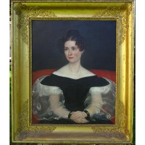 Large Portrait Of Woman Of Charles X Period French School Of The XIXth Century Hst