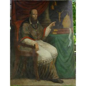 Large Portrait Of Bishop French School Of The Eighteenth Century Oil On Canvas