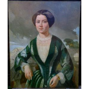 Portrait Of Woman Of Period Second Empire French School Of The XIXth Century Hst