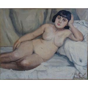 Andrée Bizet Nude Portrait Of Woman French School Of The Twentieth Century Hst