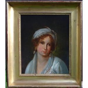 Portrait De Femme d'Epoque Ier Empire Ecole Française Du XIXème Siècle Hst