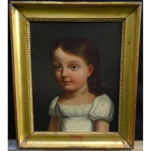 Portrait Of Young Girl Period I Empire French School Of The XIXth Century Hst