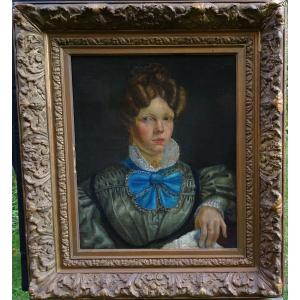 Portrait Of Woman Of Charles X Period French School From The Beginning Of The XIXth Century Hst