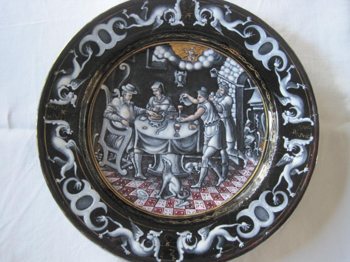 Assiette en èmail sur cuivre, Limoges XIXe