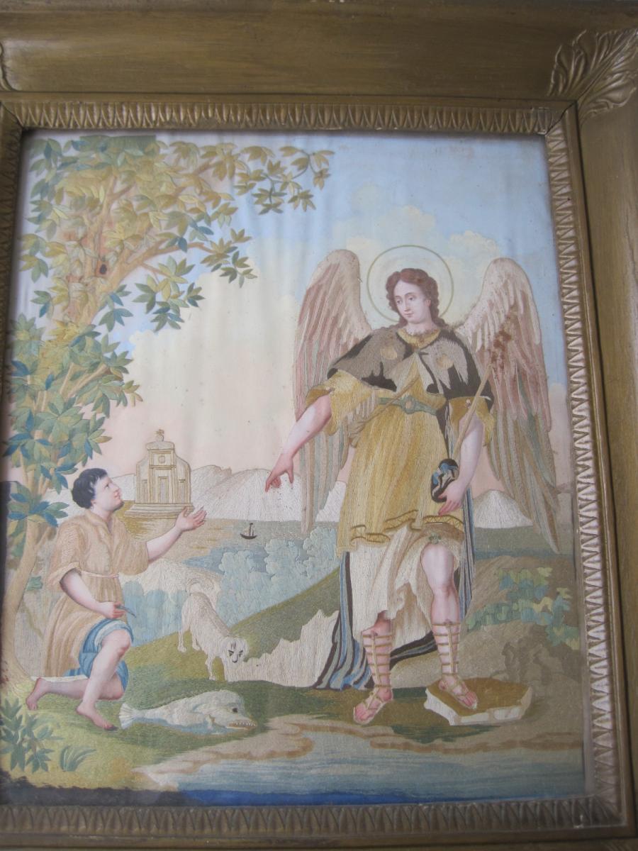 Tableau En Broderie De Fils De Soie Représentant  Tobia Et l'Ange, XVIIIe