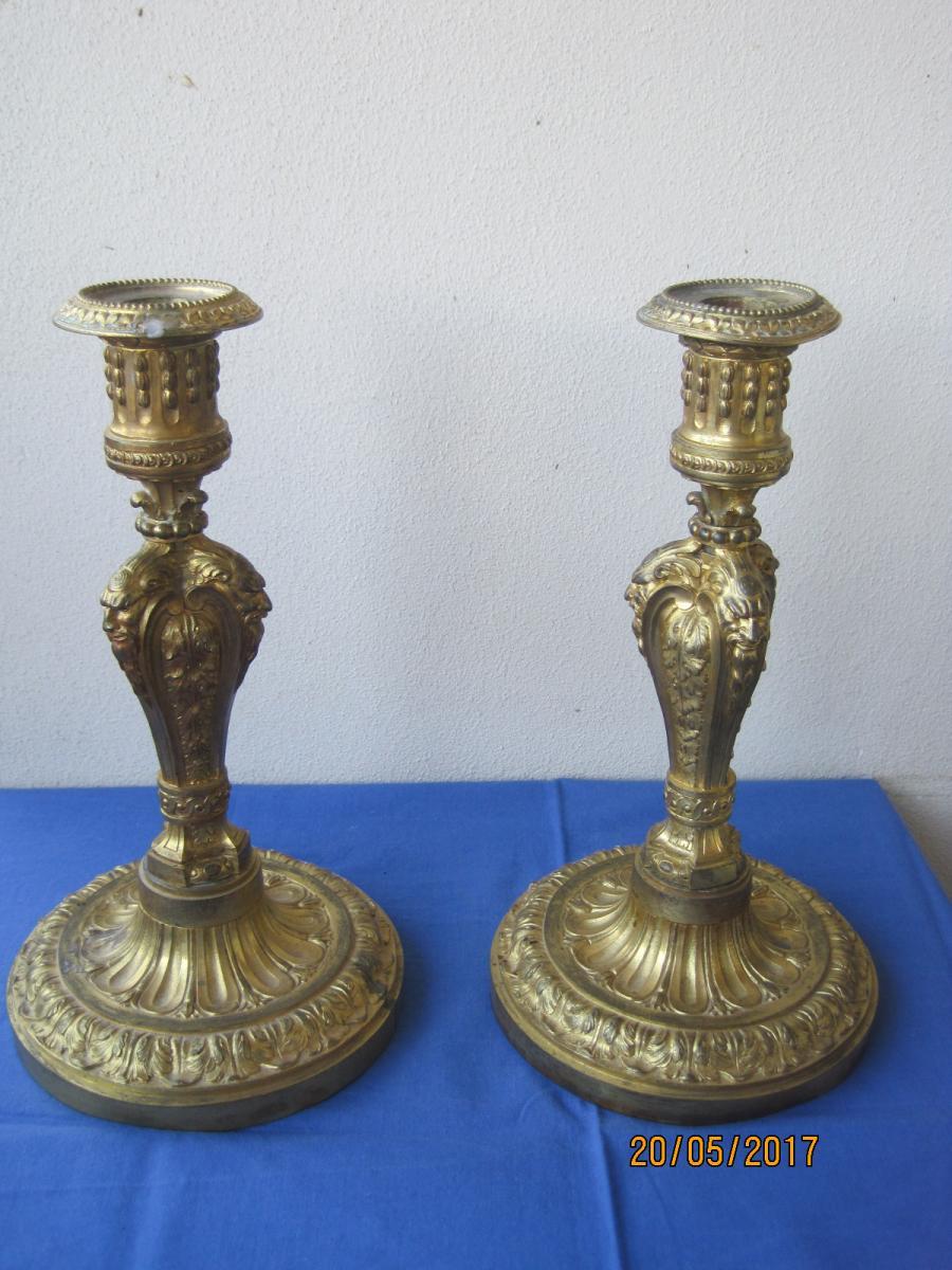 Paires De Bougeoirs En Bronze Doré, France XIXe