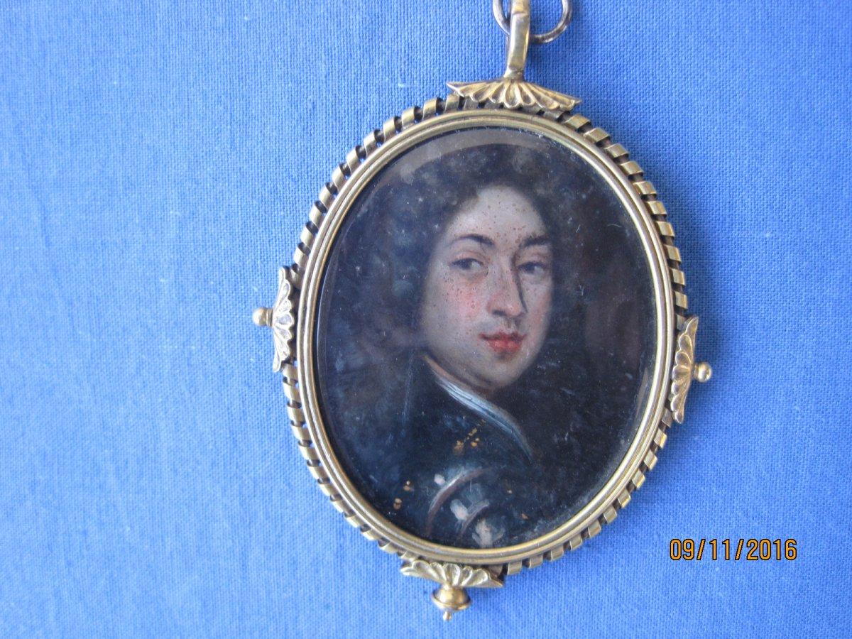 Portrait Miniature Sur Cuivre d'Un Homme En Cuirasse, Ecole Anglaise, Vers 1700