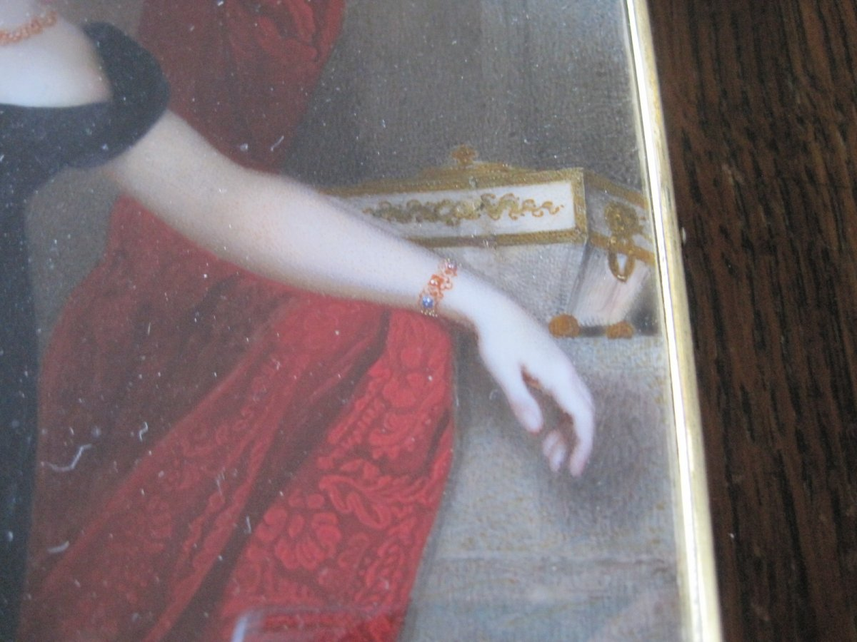 Samuel John Stump, Portrait Miniature Sur Ivoire d'Une Dame Au Robe Rouge, Vers 1830-photo-1