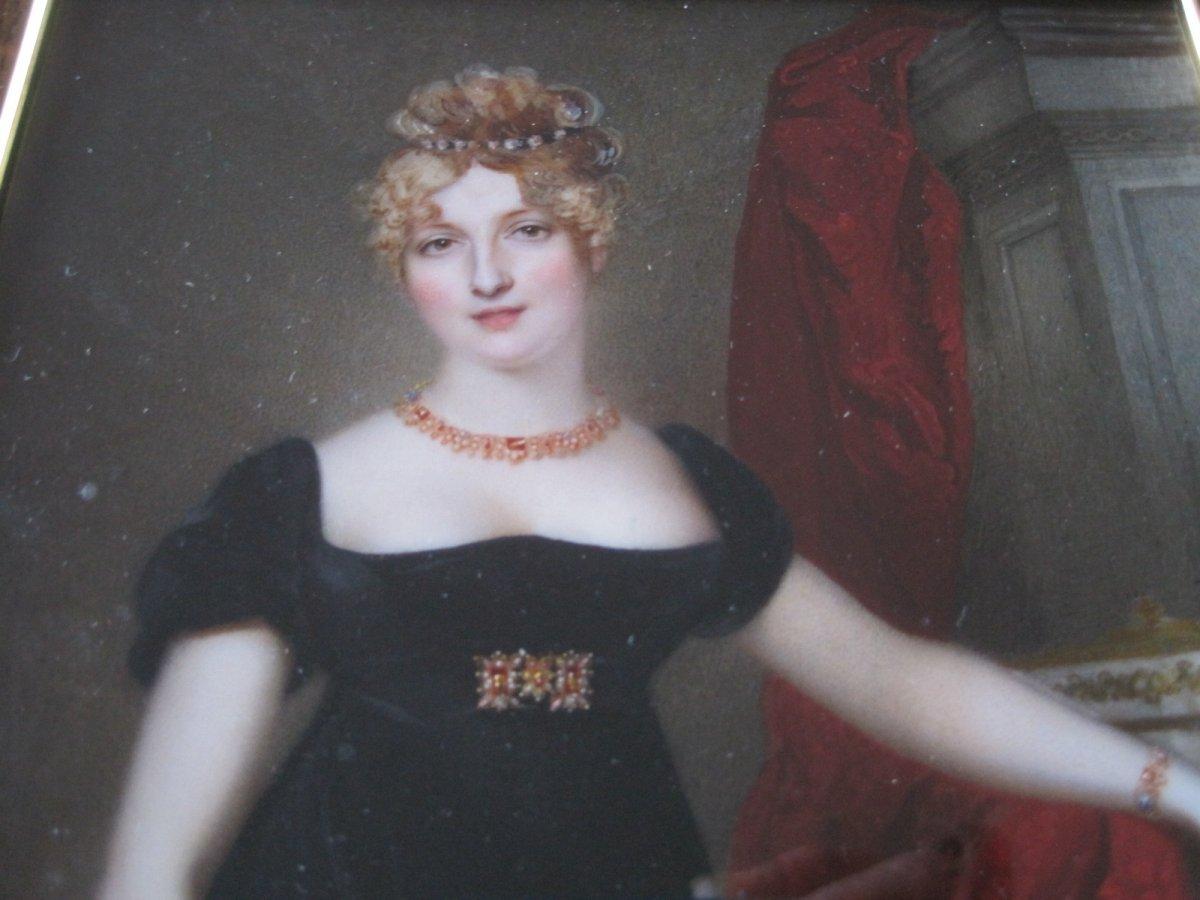 Samuel John Stump, Portrait Miniature Sur Ivoire d'Une Dame Au Robe Rouge, Vers 1830-photo-2