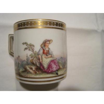 Tasse Litron Et Sa Souscoupe En Porcelain De Nyon