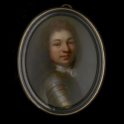 Portrait Miniature d'Un Noble En Cuirasse, France XVIIe