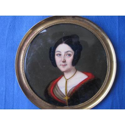Portrait Miniature d'Une Femme,ècole Italienne, XIXe