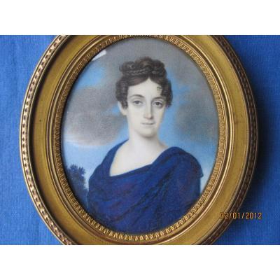 Miniature Portrait d'Une Femme, ècole Italienne, XIXe
