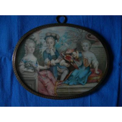 French School,  Portrait Miniature Of A Family With Parrot. Nineteenth