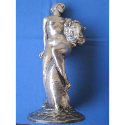 Sculpture Art Deco En Bronze Argenté Rèpresentant Ariane, Italie, 1920-30