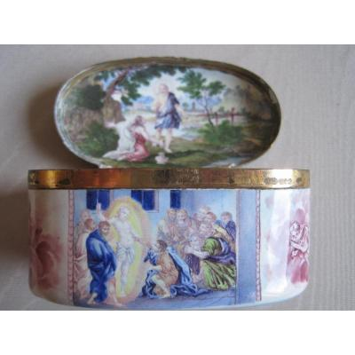 Enamel Box On Gilt Copper With Scenes From The Life Of Jesus, Eighteenth