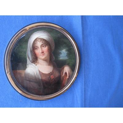 Boite  En écaille Avec   Miniature Portrait huile  sur papier maché  Par Firmin Massot Sur Le Couvercle