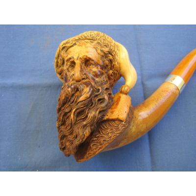 Large  Meerschaum Pipe   Carved With A  Bearded Man In Fur Hat. Probably Austria,  XIX Century