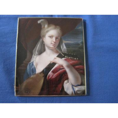 Lute Player, Watercolour On Ivory, Signed D. Bossi , Italy, Early XIX Century,