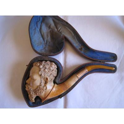 Large Pipe In Real Meerschaum , With Its Case, End Of The XIXth Century