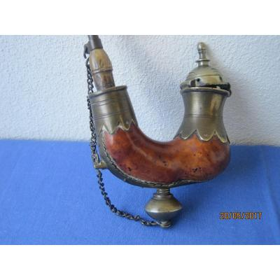 Turkish Pipe In Briar  And Metal, In The Shape Of A  Half Moon, Mouthpiece In Horn. Early XX