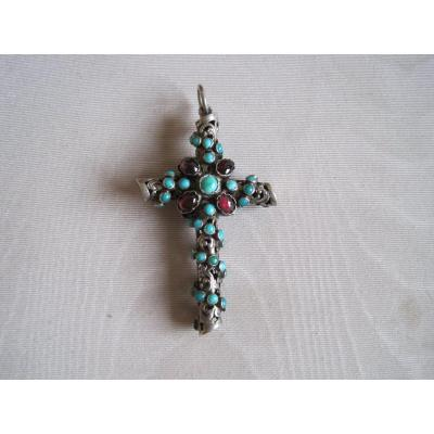 Silver, Turquoise And Garnet Cross Pendant, Austria-hungary,  1860-1880