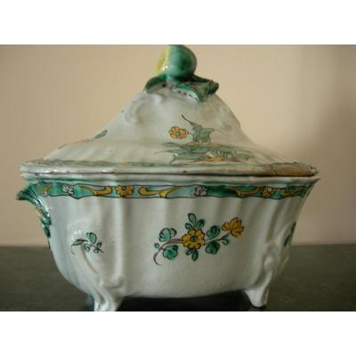 Maiolica Soup  Tureen With Green And Yellow Decor Of Flowers And Leaves, Italy, XVIIIth