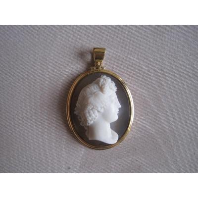 Pendentif, Camée En Agate Et Or, Profile Féminine Classique, XIXè