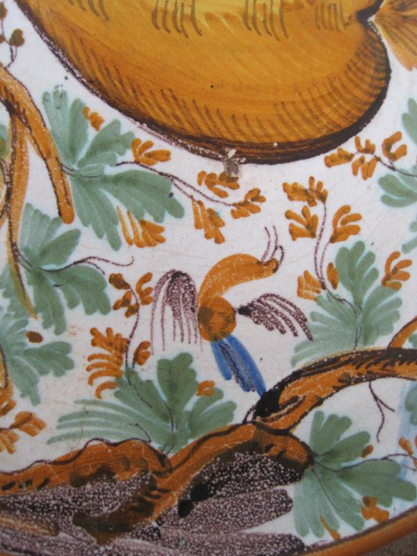 "Maiolica Dish On Foot  (""alzata"")  Painted With Birds And Foliage. Italy, XVIIth-photo-3"