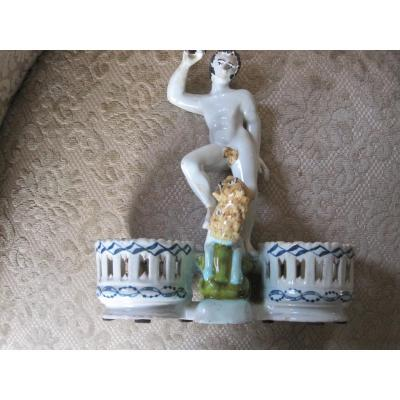 Maiolica Cruet-stand  With A Male Figure And A Lion, Polychrome Decor,  France XVIIIth Centur