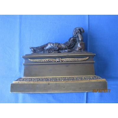 Encrier En Bronze Avec Ariadne Sur Le Couvercle, France XIXe
