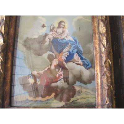 Religious Painting On Glass, Period Frame, Italy  XVIIth  Century