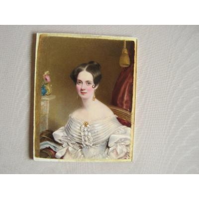 Portrait Miniature aquarelle  sur ivoire, Dame Avec Robe Blanche, ècole Anglaise, 1810.20