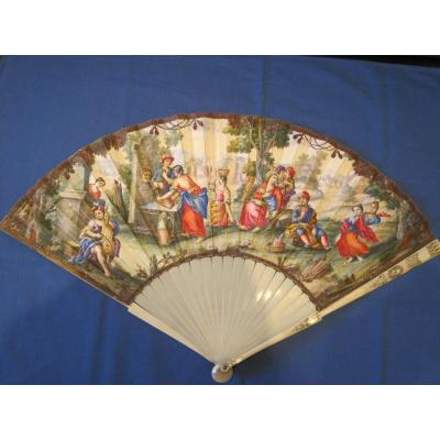 Folded Fan, Leaf In Painted Skin With Country Fete, Italy, 1720-50