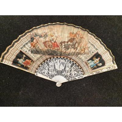 Folded Fan, The Chariot Of Dawn After Guercino. Italy 1790-1800
