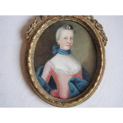 Venetian School, Miniature Portrait Of A Lady With Red Dress, Oil On Copper, Around 1750