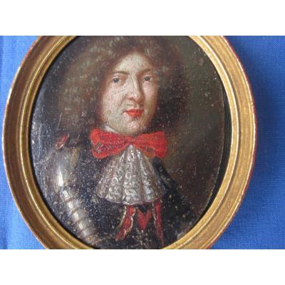 Miniature portrait d'un Homme en cuirasse, huile sur cuivre, France XVII