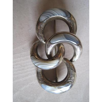 Silver And Agate Brooch, Scotland, Early 20th Century