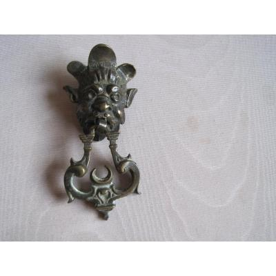 Bronze Cabinet Handle In The Shape Of A Faun's Face, Italy, XVIIth Century