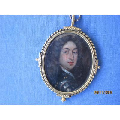 Miniature Portrait On Copper Of A Man In Armour, English School, Around 1700