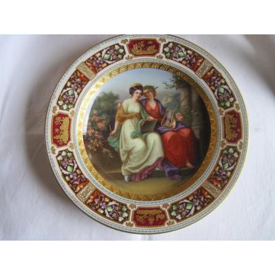 Assiette En Porcelaine à Décor De Scène Classique, Vienne XIXe Siècle
